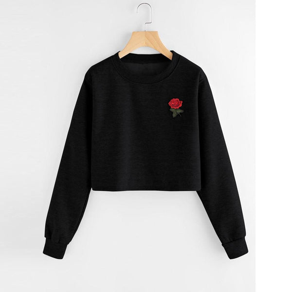 Embroidered Rose Patch Pullover Crop Sweatshirt - Black / L - Crop Sweatshirt
