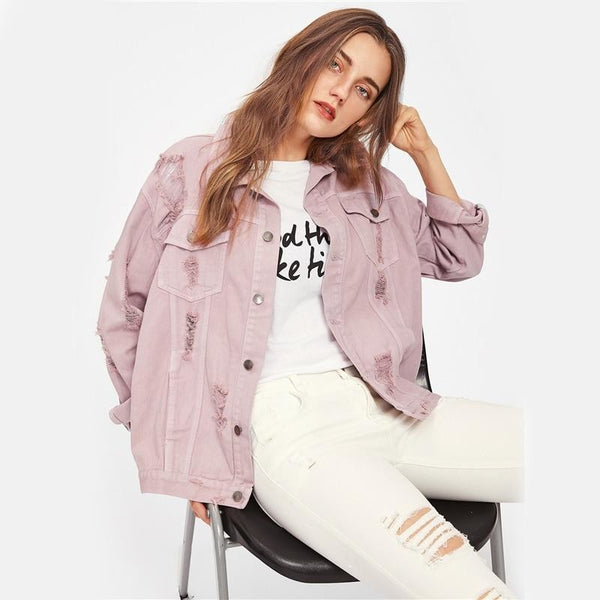 faded rose pink destroyed denim jacket - Jacket