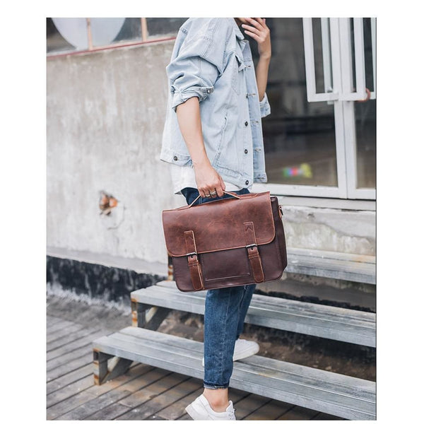 Faux Leather Classic Messenger Bag - Messenger Bag