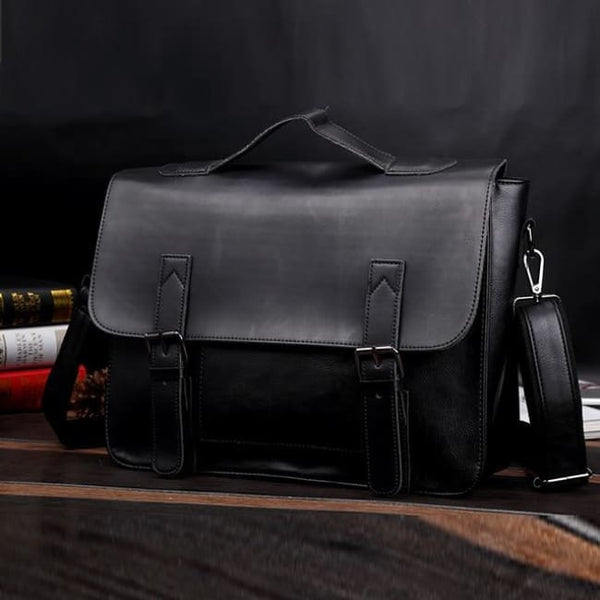 Faux Leather Classic Messenger Bag - Black - Messenger Bag