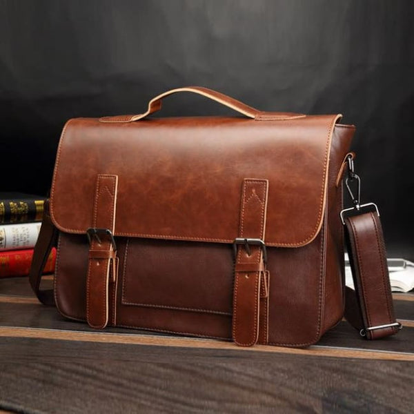 Faux Leather Classic Messenger Bag - Brown - Messenger Bag