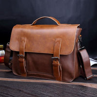 Faux Leather Classic Messenger Bag - Tan - Messenger Bag