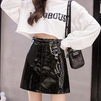 faux patent leather a-line mini skirt - Skirt