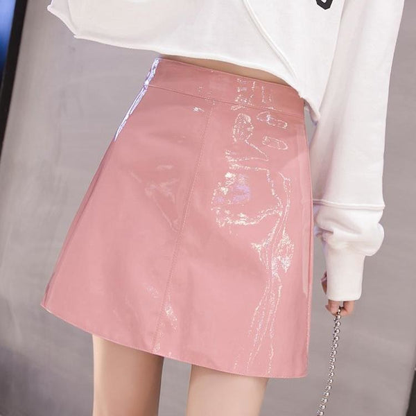 faux patent leather a-line mini skirt - Pink / L - Skirt