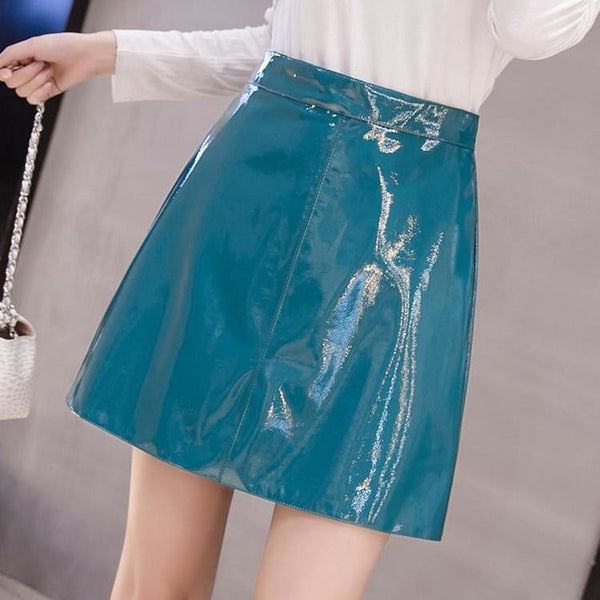 faux patent leather a-line mini skirt - Teal / L - Skirt