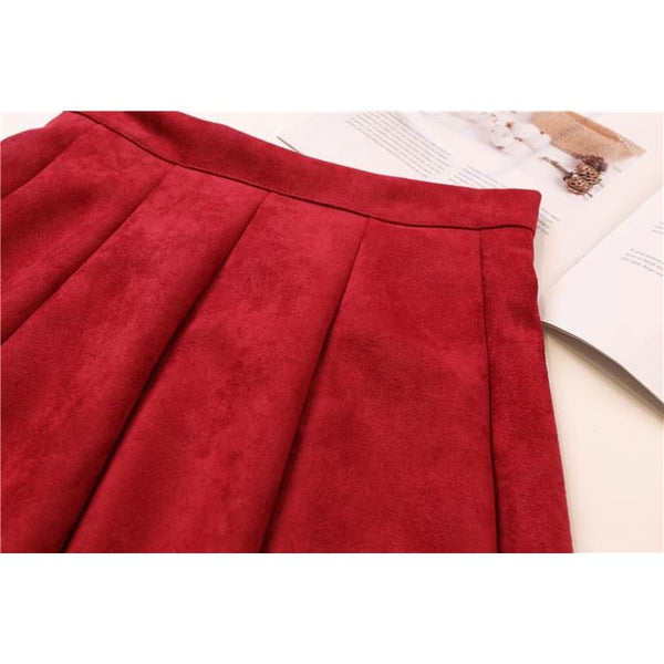 Faux Suede High Waist Pleated Mini Skirt - Skirt