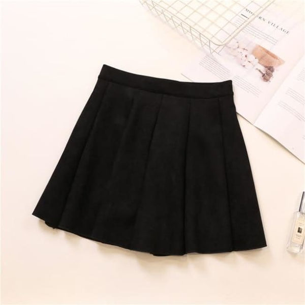 Faux Suede High Waist Pleated Mini Skirt - Black / S - Skirt