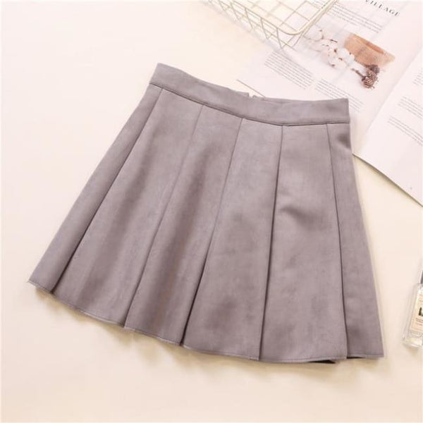 Faux Suede High Waist Pleated Mini Skirt - Gray / S - Skirt