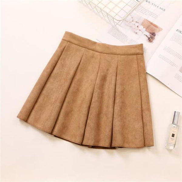 Faux Suede High Waist Pleated Mini Skirt - Khaki / S - Skirt
