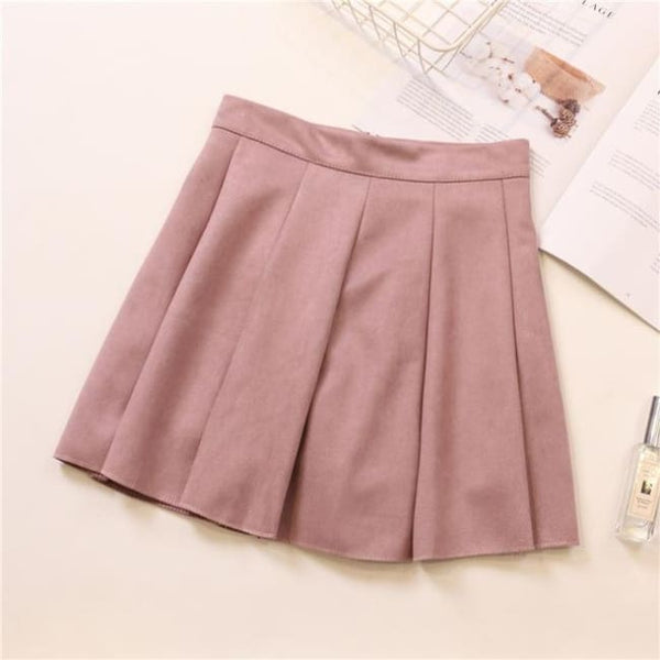 Faux Suede High Waist Pleated Mini Skirt - Pink / S - Skirt