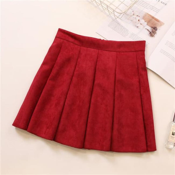 Faux Suede High Waist Pleated Mini Skirt - Red / S - Skirt