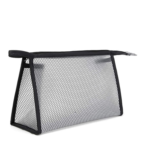 fishnet overlay semi-transparent makeup bag - Black - Zip Bag