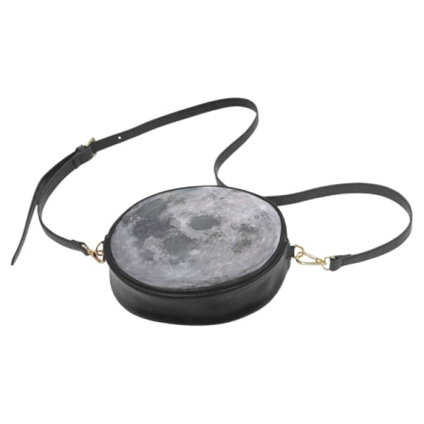 Full Moon Faux Leather Round Crossbody Bag - Purse