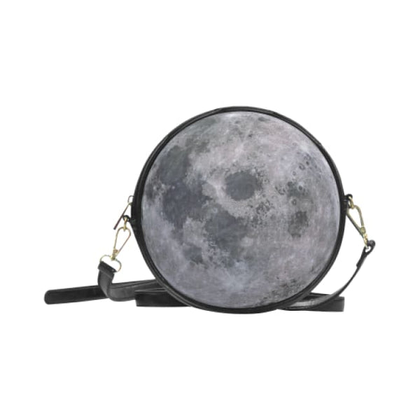 Full Moon Faux Leather Round Crossbody Bag - Black - Purse
