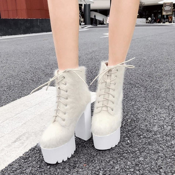 Fuzzy Lace-Up Ultra Platform Ankle Boots - Boots