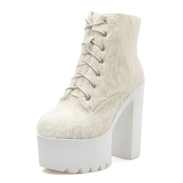Fuzzy Lace-Up Ultra Platform Ankle Boots - Cream / 5.5 - Boots