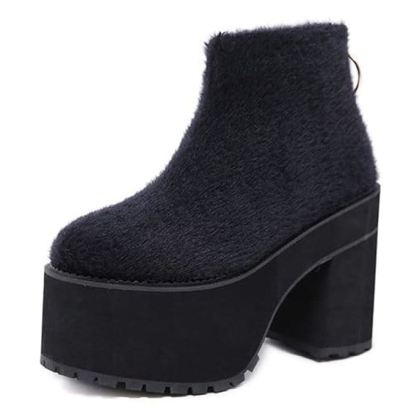 Fuzzy Zipper Back Ultra Platform Boots - Black / 4 - Boots