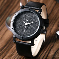Glitter Galaxy Moon And Stars Faux Leather Strap Watch - Watch