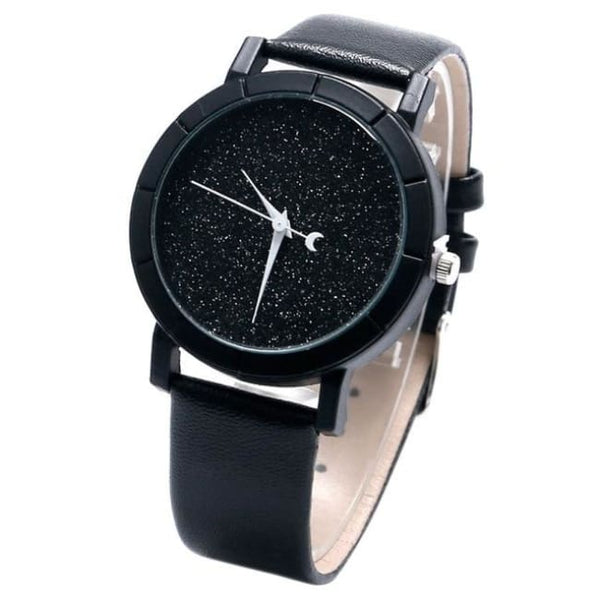 Glitter Galaxy Moon And Stars Faux Leather Strap Watch - Black - Watch