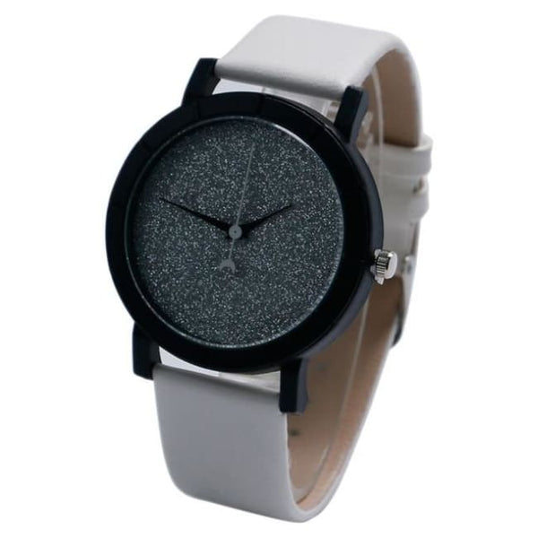 Glitter Galaxy Moon And Stars Faux Leather Strap Watch - White - Watch