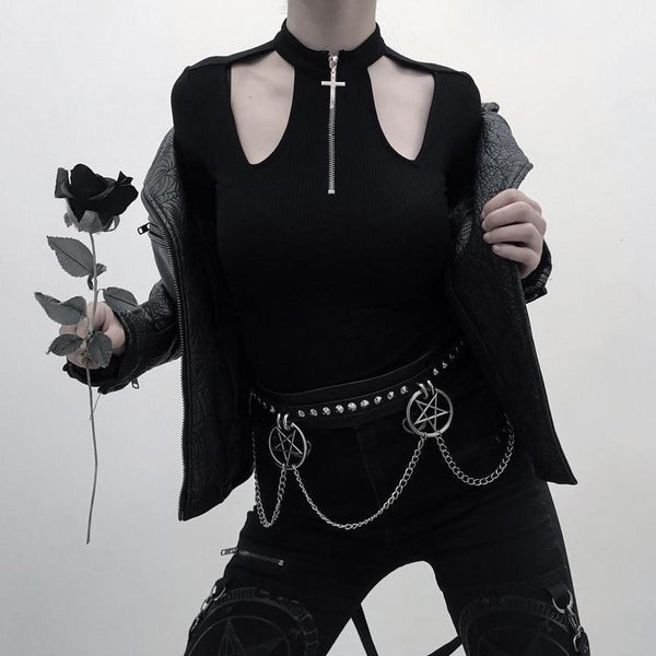 gothic cross zip up choker neck long sleeve shirt - Black / S - Long Sleeve Shirt