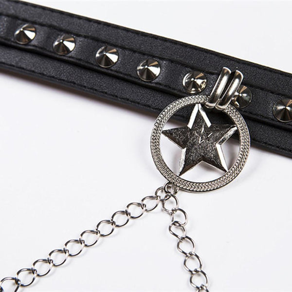 gothic star drop chain studded faux leather belt - Belt