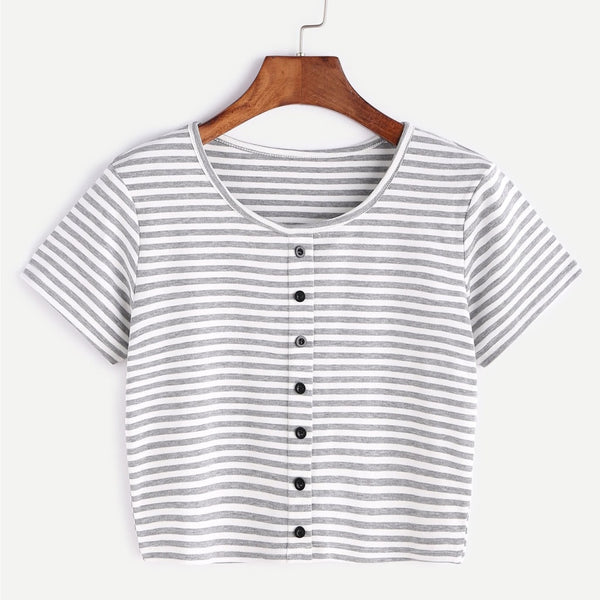 gray and white striped button up crop top tee - Gray / S - Crop Top