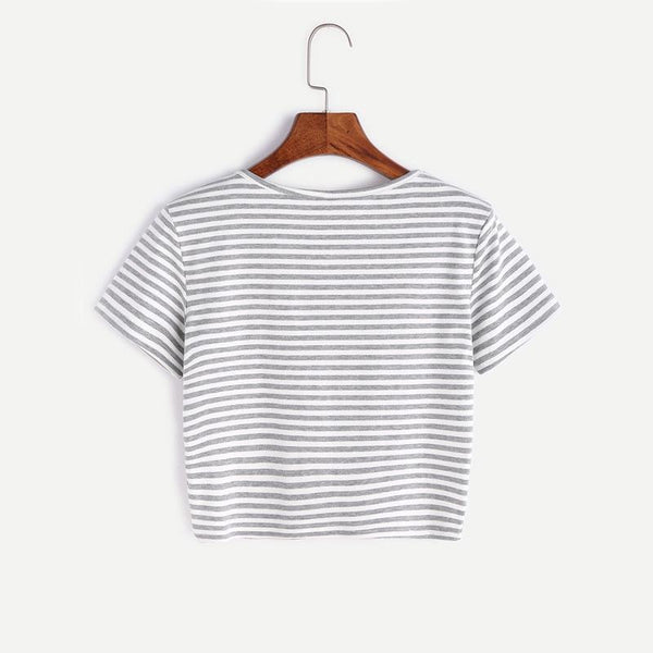 gray and white striped button up crop top tee - Crop Top