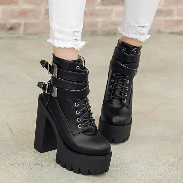 Heavy Metal Buckle Strap Lace-Up Ultra Platform Boots - Boots