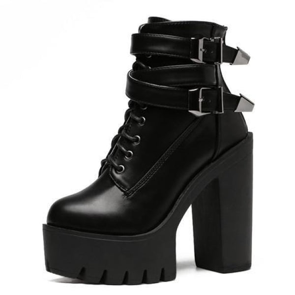 Heavy Metal Buckle Strap Lace-Up Ultra Platform Boots - Black / 6.5 - Boots