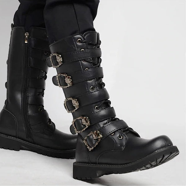 heavy metal skull buckle tall mens boots - Mens Boots