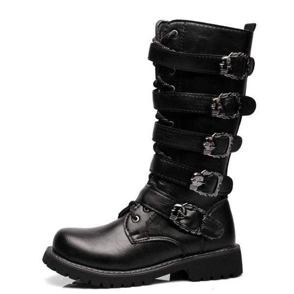 heavy metal skull buckle tall mens boots - Black / 6 - Mens Boots