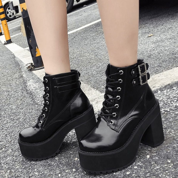 Hex Bolt Patent Lace-Up Ultra Platform Boots - Boots