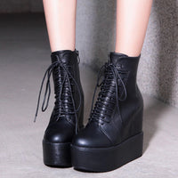 hidden wedge ultra platform lace-up ankle boots - Womens Boots