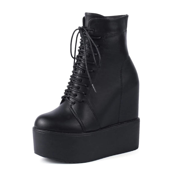 hidden wedge ultra platform lace-up ankle boots - Black / 5.5 - Womens Boots