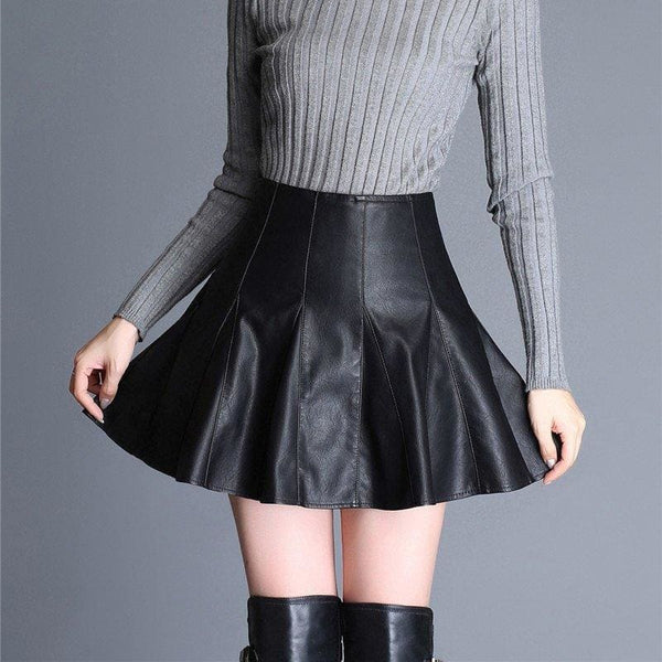 High Waist Faux Leather Pleated Mini Skirt - Skirt