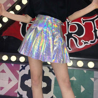 Holographic High Waist Pleated Mini Skirt - Silver / S - Skirt