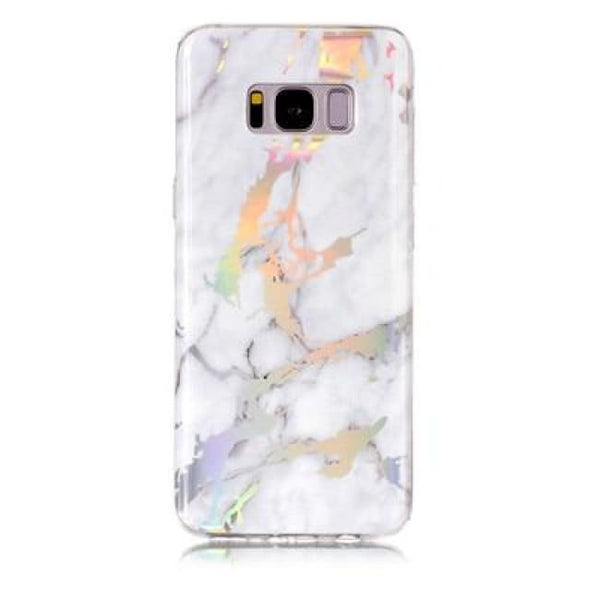 Holographic Marble Soft Silicone Phone Case (Samsung) - White / For S6 - Samsung Case