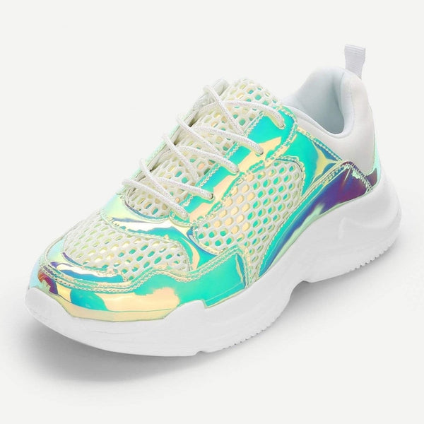 holographic mesh panel sporty sneakers - Green / 5 - Womens Sneakers