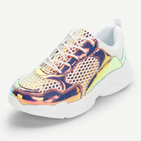 holographic mesh panel sporty sneakers - Pink / 5 - Womens Sneakers