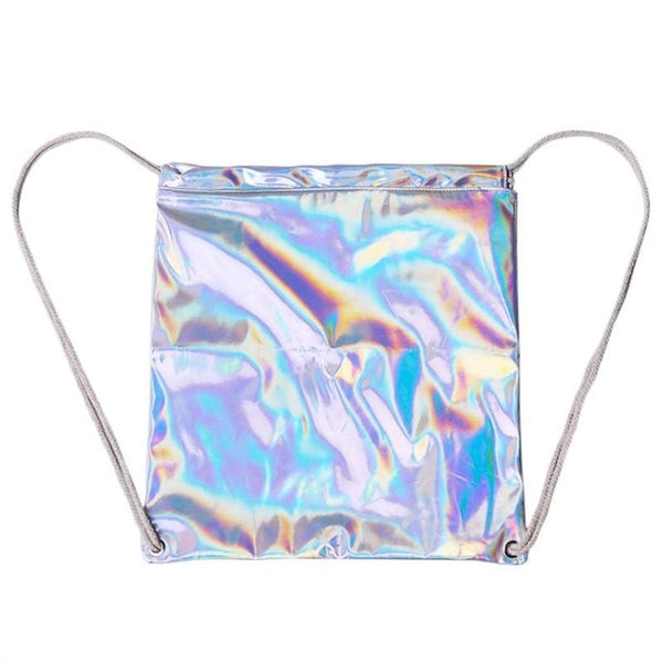 Holographic Metallic Drawstring Backpack - Backpack