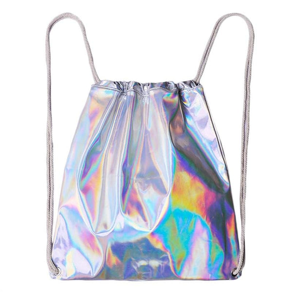 Holographic Metallic Drawstring Backpack - Holographic - Backpack