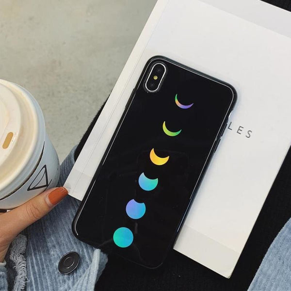 holographic moon phases phone case (iPhone) - iPhone Case