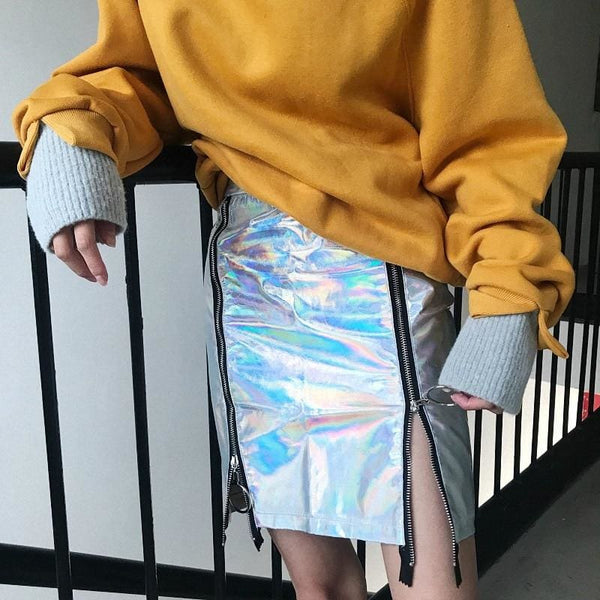 Holographic Patent Leather Zipper Fitted Mini Skirt - Skirt