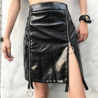 Holographic Patent Leather Zipper Fitted Mini Skirt - Black / S - Skirt