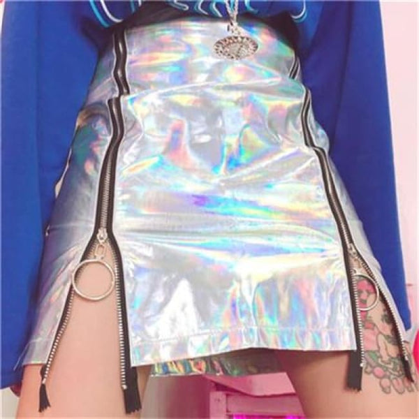 Holographic Patent Leather Zipper Fitted Mini Skirt - Holographic / S - Skirt