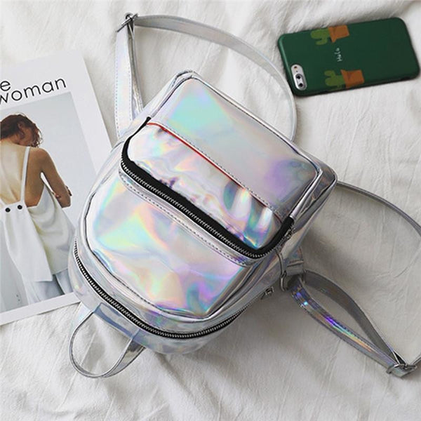 holographic patent shine mini backpack - Backpack