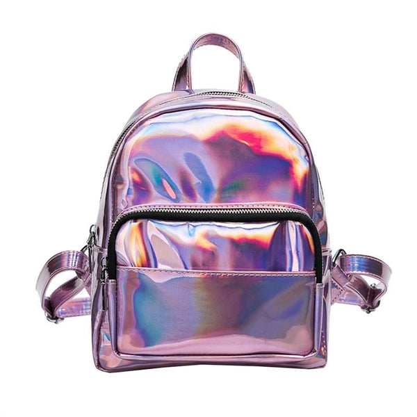 holographic patent shine mini backpack - Pink - Backpack