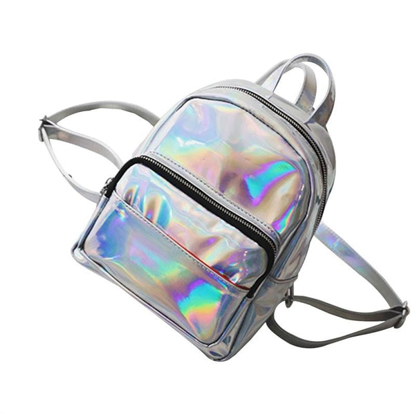 holographic patent shine mini backpack - Silver - Backpack