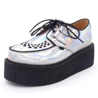 holographic silver lace-up platform creepers - Holographic / 5.5 - Creepers